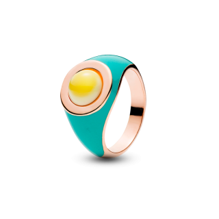 Enlightened Enamel ring in milky amber and turquoise enamel