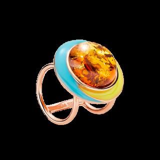 Enlightened Enamel scarfbuckle in cognac amber and enamel