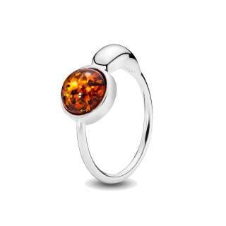 Gravity ring in cognac amber and silver