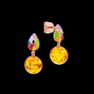 Harlequin earrings in cognac amber and enamel