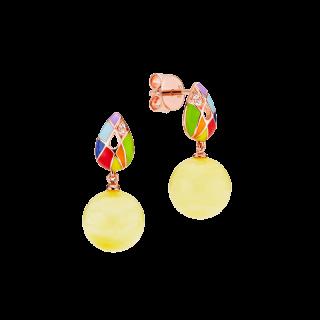Harlequin earrings in milky amber and enamel