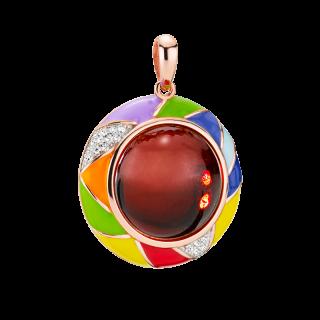 Harlequin pendant in cherry amber and enamel