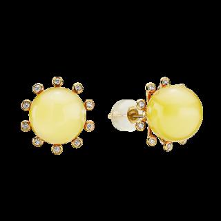 Look of London earrings in milky amber with diamonds