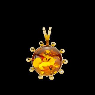 Look of London pendant in cognac amber with diamonds