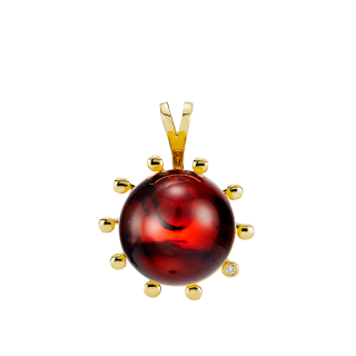 Look of London pendant in cherry amber with diamonds