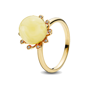 Look of London ring in milky amber with diamonds