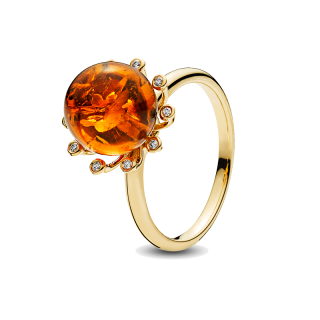 Look of London ring in cognac amber with diamonds