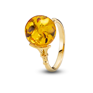 Love in Paris ring in cognac amber