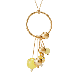 One Rhythm necklace by Maysoun Kanaan in milky amber